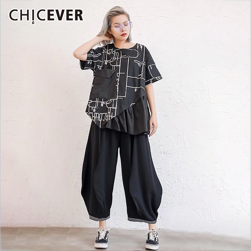 CHICEVRE Spring Two Piece Set Hit Color Print O Neck Short Sleeve Top Clothing With Black Pockets Loose Oversize  Harem Pants