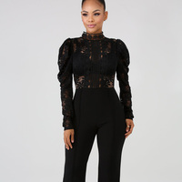 Lady Stand Collar Elegant Lace Jumpsuits for Women 2019 Autumn Sexy High Waist Long Sleeve One Piece Peplum Romper Wide Leg Pant
