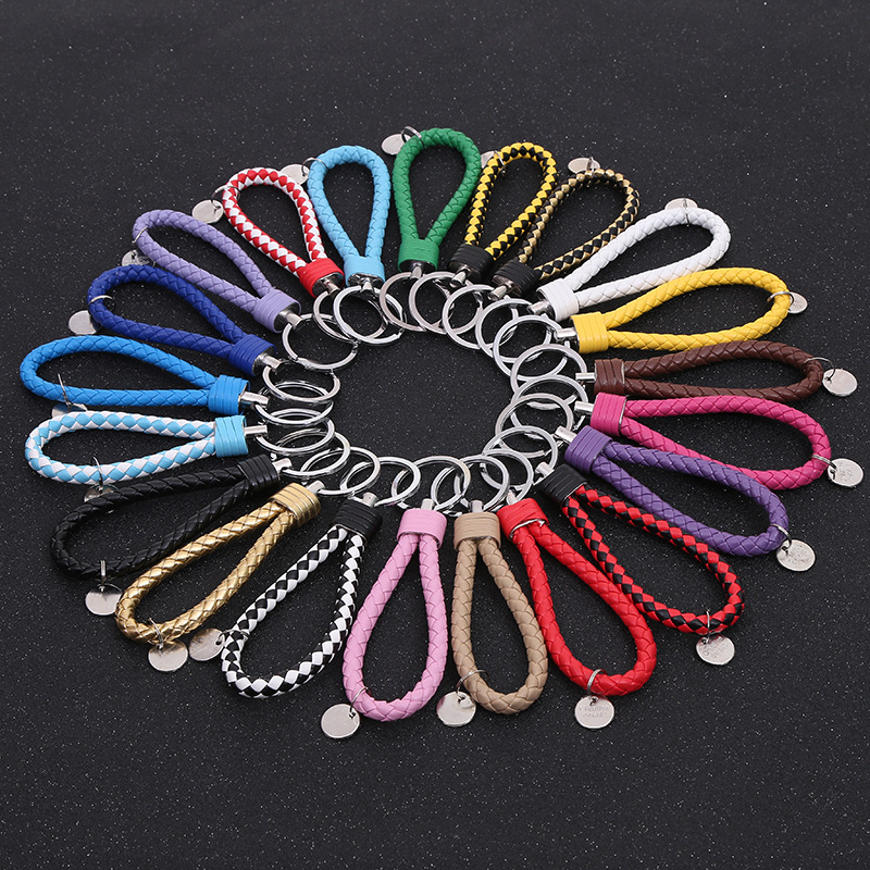 Handmade Braided PU Leather Keychains  Key Chain Metal  Key Holder Keyring  Auto Car Key Ring Bag Accessory Wholesale