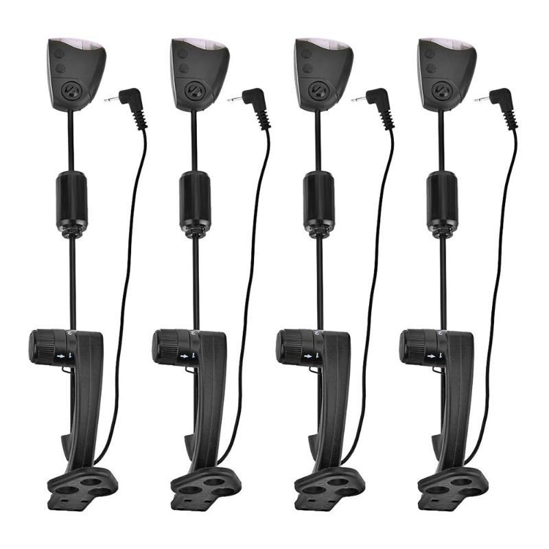 4 pièces Alarme de Morsure De Carpe Swingers Cintres LED Illuminé Mordre Indicateurs avec Étui De Transport