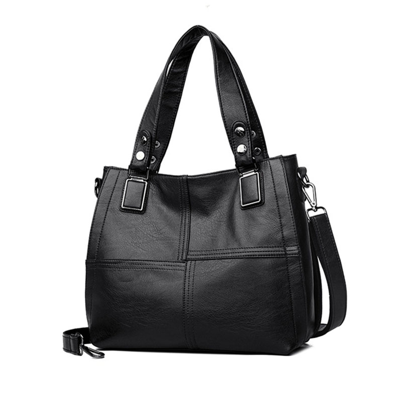 Women Leather Handbag PU Leather Casual Tote Bags Soft Female Big Shoulder Bag BlackWomen Leather Handbag PU Leather Casual Tote Bags Soft Female Big Shoulder Bag Black