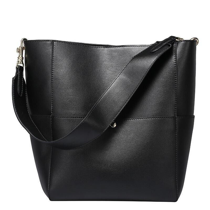 2019 bolso de mano de cuero genuino Real de las mujeres bolso de mano de cubo negro de lujo de las marcas famosas señoras hombro marrón bolso de diseñador