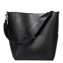 2020 Women Real Genuine Leather Tote Bag Black Bucket Handbags Female Luxury Famous Brands Ladies Shoulder Brown Bag Designer