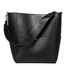2020 여성 진짜 정품 가죽 토트 백 블랙 버킷 핸드백 여성 럭셔리 유명 브랜드 숙녀 어깨 브라운 가방 디자이너