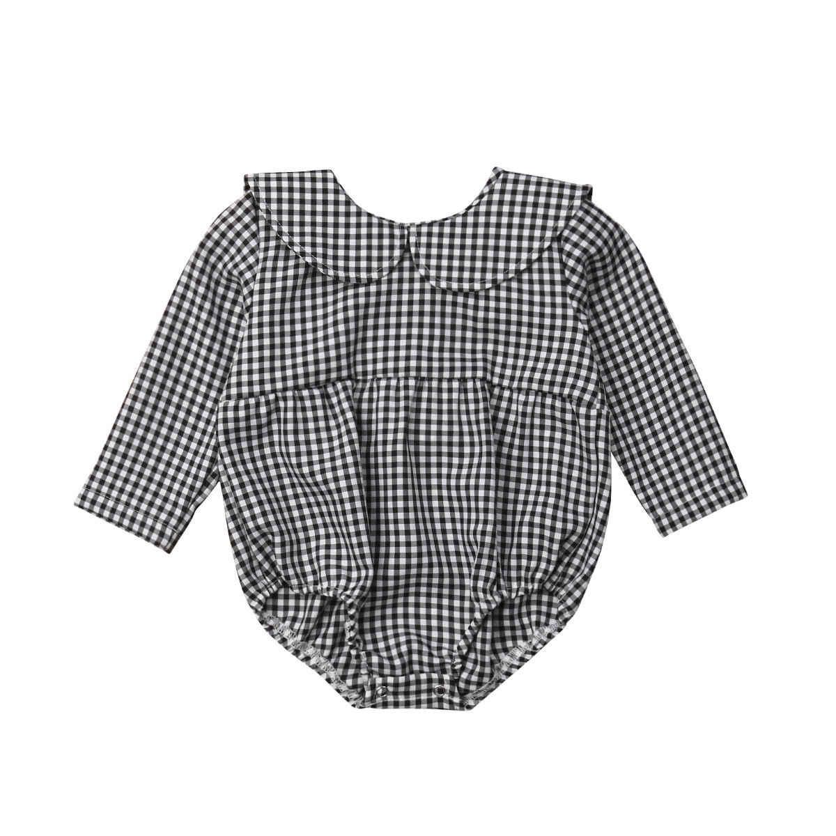 Новинка 2019 года, стильный теплый комбинезон в черно-белую клетку с длинными рукавами для новорожденных девочек, повседневный комбинезон