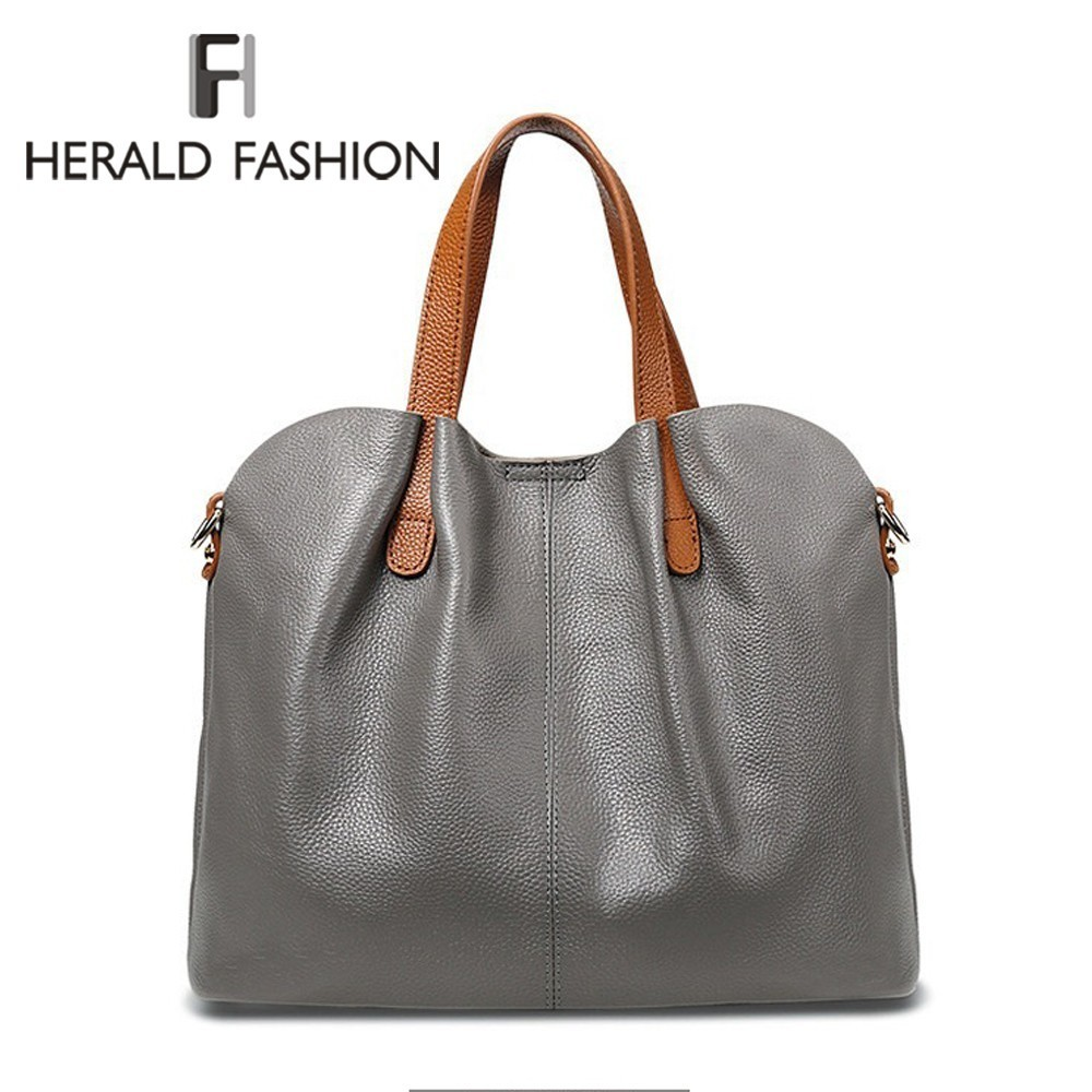 Herald Fashion Genuine Leather Women Handbags Head Layer Cowhide Litchi Grain Portable Shoulder Messenger Bags Composite