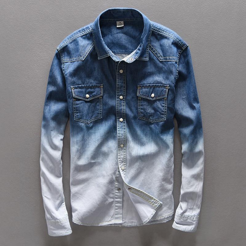 #4720 Frühling Vintage Denim Shirt Männer 100% Baumwolle Abstufung Farbe Casual Retro Hemd Für Mann Regelmäßige Fit Langarm Dünne