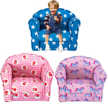Panana Lovely Colourful Children Sofa Chair Playroom Armchair Solid Wooden Frame Filled With Hard Foam Kid's Bedroom Tub Seating