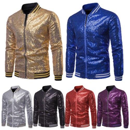 Blazers Brilhantes Ouro Lantejoulas Glitter Terno Jaquetas Masculino Boate um Botão Blazer dj Fase