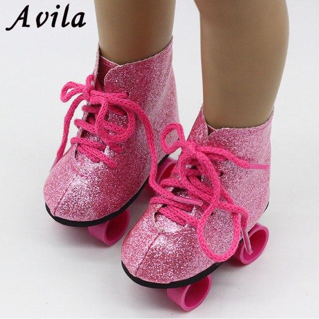 New Style Rosa Boneca Feito À Mão Sapatos de Skate Fit 43 centímetros Bebê Nascido Boneca Roupas 18 Polegada Sapatos Boneca Crianças Melhor presente de aniversário