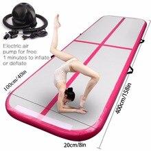 Воздушный трек 5 м надувные Олимпийские гимнастические Матрасы для тренажерного зала с сушильной полосой для йоги, надувные дорожки, надувные дорожки, розовый и зеленый цвета