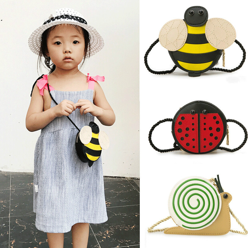 Hot Sale New Baby Girls Tassel Purse Handbag Children Kids Cross-body Shoulder Bag Gifts Cartoon Animals Bag Snail Ladybug Bee Reputation First