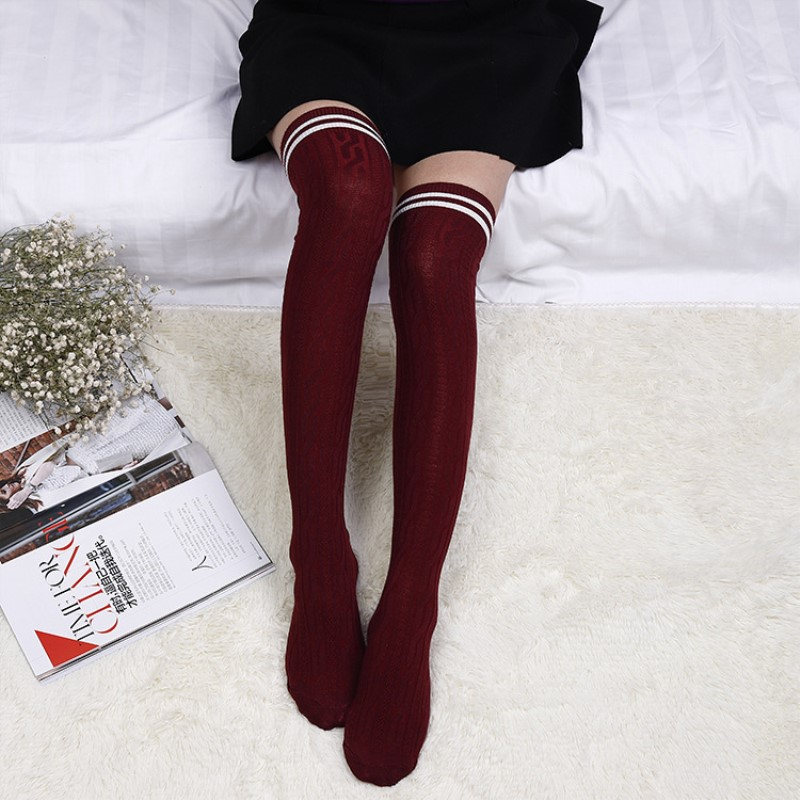Jeseca New Sexy Warm Long Stocking Fashion Striped Jacquard Breathable Women Cotton Thigh High Above Knee Stockings For Ladies