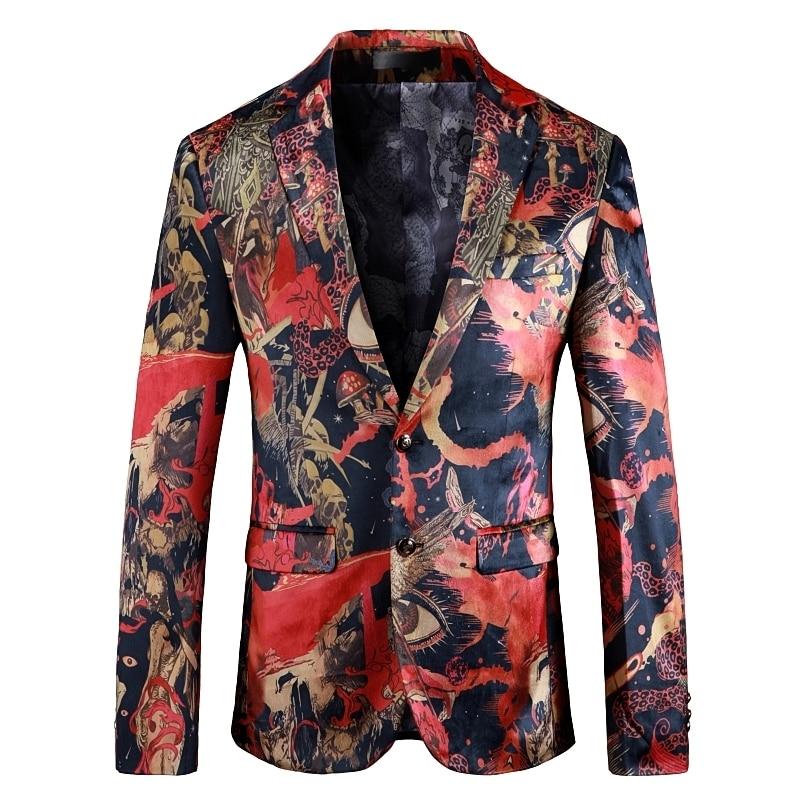 Fashion Flower Blazer Masculino 5xl Slim Fit Men Blazer Casual Dress Suit Coat New Gentlemen Business Formal Dress Suit Jackets