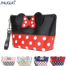 SNUGUG Brand Fashion Mickey Dot Waterproof PU Cosmetic Bag Women Travel Necessaires Handbag Organizer Beautician Makeup Bag(China)
