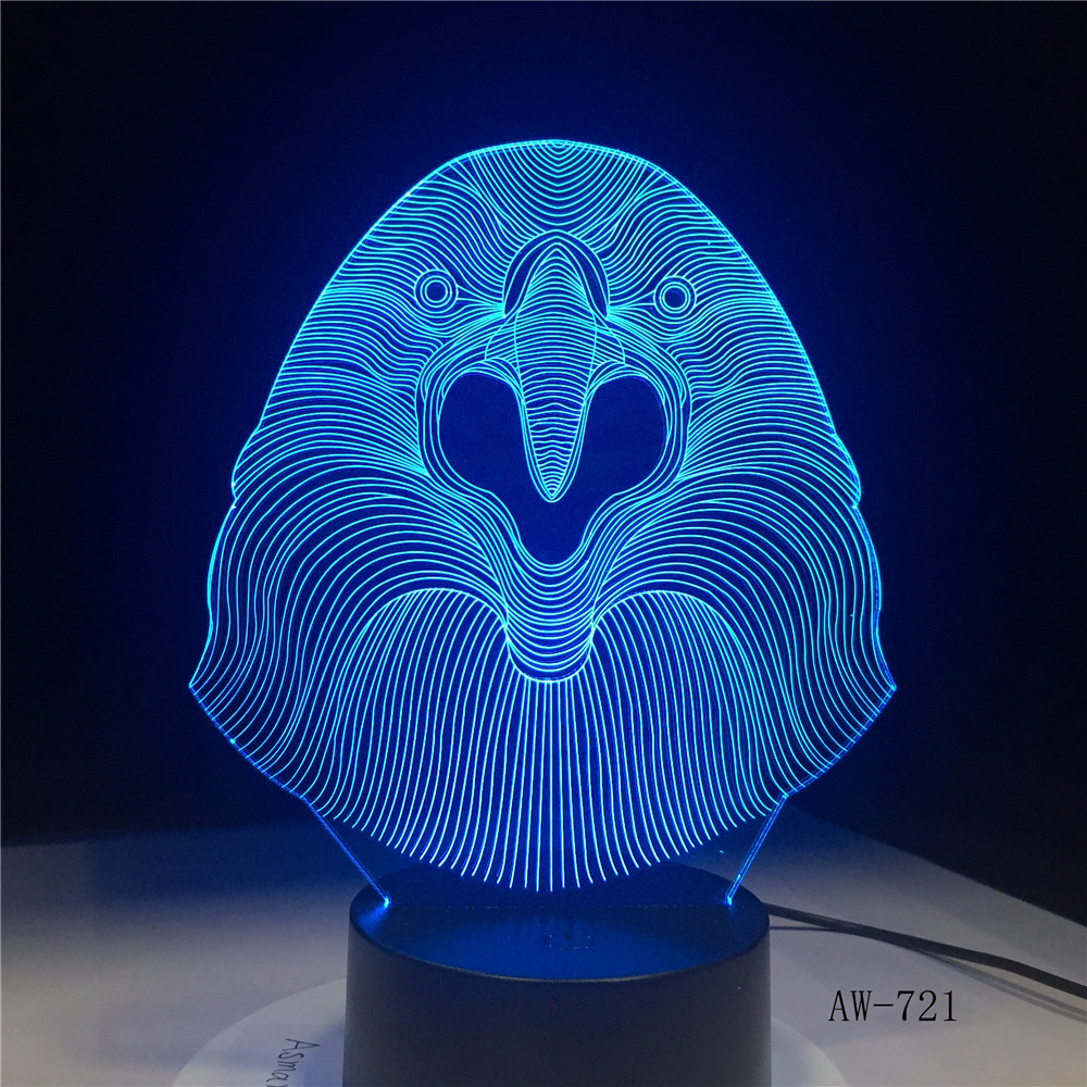 3D LED Lamp Vulture Owl Desk Night Light 7 Color Change Remote Controller Holiday Decor Christmas Gift boy Baby Toy Lava AW-721 image
