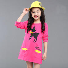 все цены на Children clothing girls dress spring and autumn new long-sleeved cartoon baby clothes cotton stretch dress 3-12 years