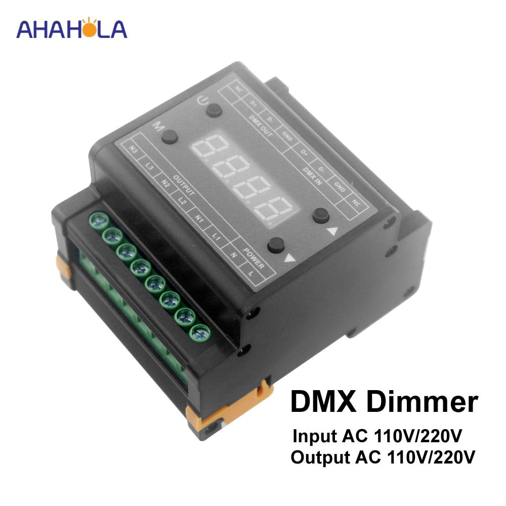 Dmx Led Dimmer 220v 110v Output 3 Channel Dmx Dimmer Switch Triac Dimmer for led lamp 220v