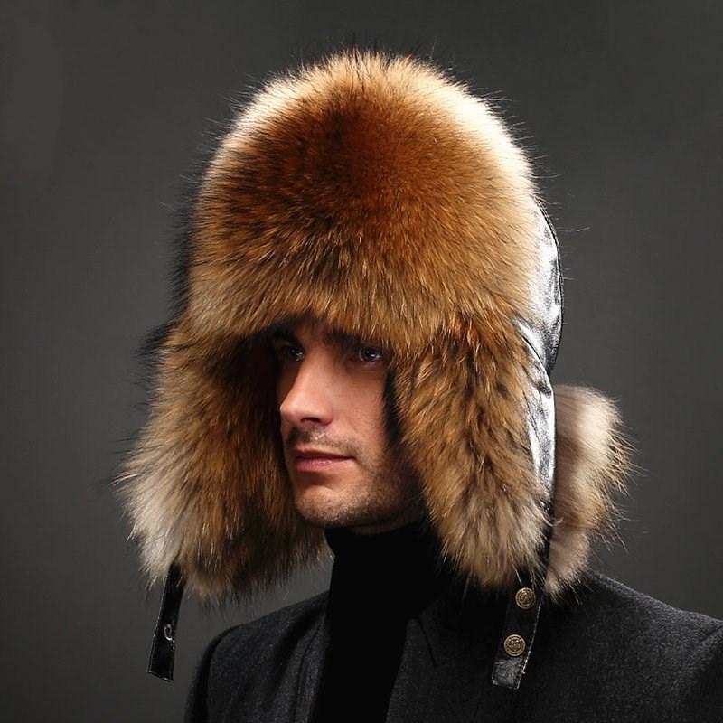 Men's Raccoon Fur Bomber Hats Winter Fox Fur Earflap Hat Russian Aviator Snow Skiing Warm Silver Fox Fur Men Hats