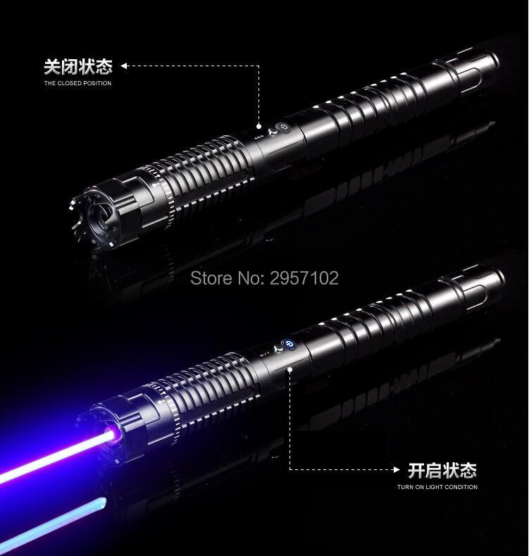Haute Puissance militaire pointeur laser bleu 500 w 500000 m 450nm LAZER lampe de Poche Allumette/Sec Bois/Noir/Brûler cigarettes Chasse