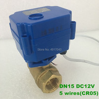 Free shipping 1/2 Electric ball valve, DC 12V Motorized valve with 5 wires(CR 05), DN15 Electric valve with for water heater