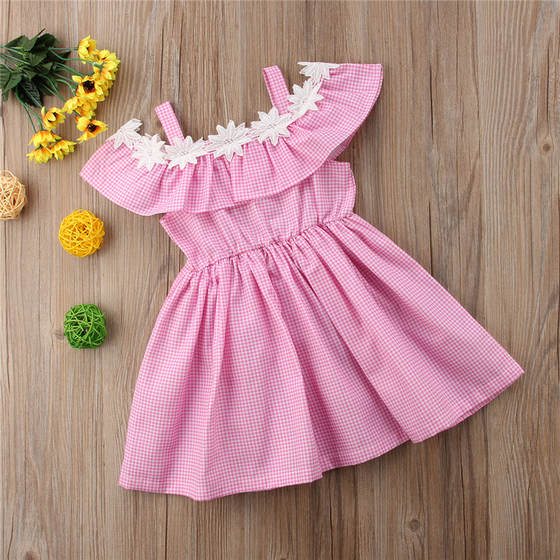Toddler Kids Baby Girls Clothes Summer Plaid Dress Pageant Party Dress Sundress