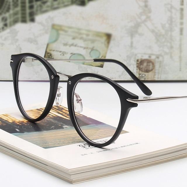 UVLAIK Fashion Vintage Glasses Frame Trend Art Light Mirror Female Male Circle Eye Wear Frame Glasses Frame in Eyeglasses Frame