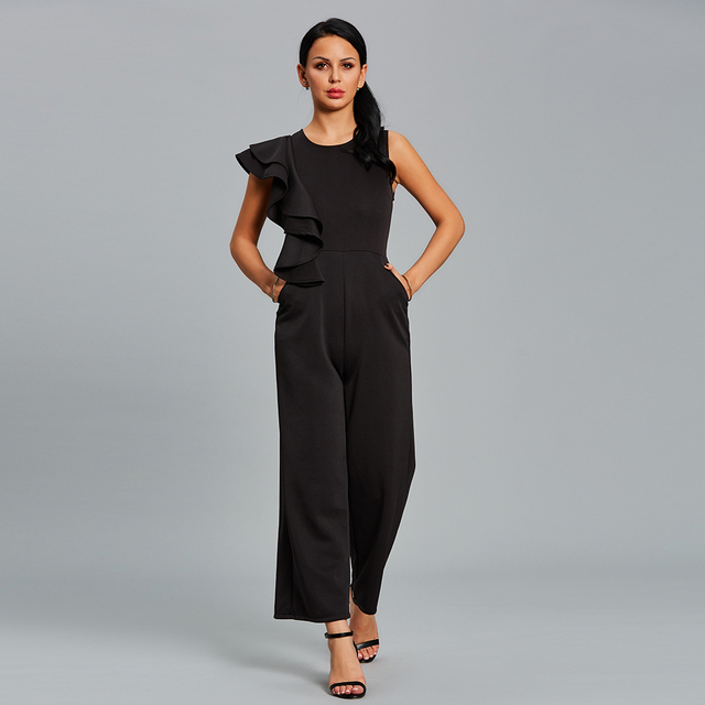 c71415a77b4c Women Ruffle Jumpsuit Long Summer Black One Shoulder Female Rompers Overall  Elegant Fashion Office Wide Legs Jumpsuit