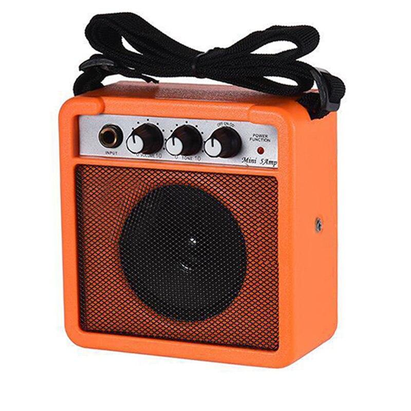 ABGZ-Mini 5 Watt 9V Battery Powered Amp Amplifier Speaker For Acoustic/ Electric Guitar Ukulele High-Sensitivity Orange