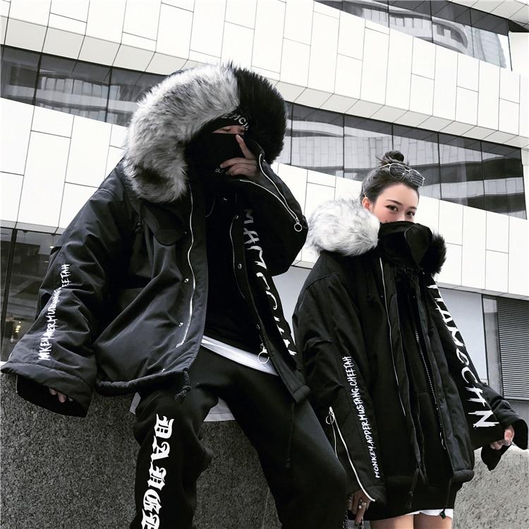 Fourrure Hip Hiver Sweat La Col Coton Et De Matelassé Modis Plus Épais Outwear Lâche Femmes Veste Noir Mode Hommes Hop Taille rqwrg0