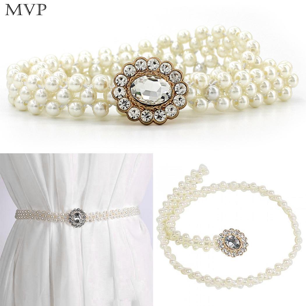 New Fashion Women Girls Elastic Artificial 65cm/25.6inch Pearl White 2cm/0.8inch Gem Decor Waist   Belt