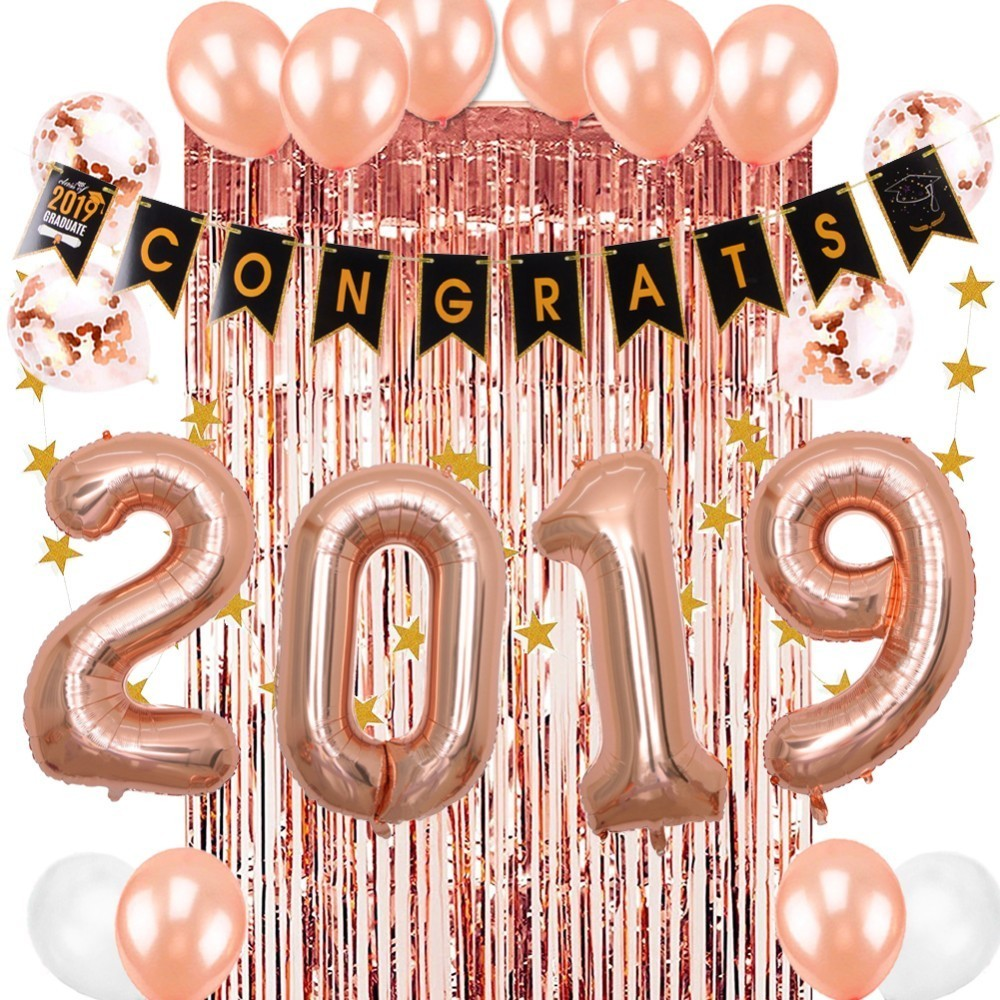 24pcs Graduation 2019 Rose Gold Party Decorations Backdrop Latex Balloons Fringe Tinsel Curtain Congrats Banner