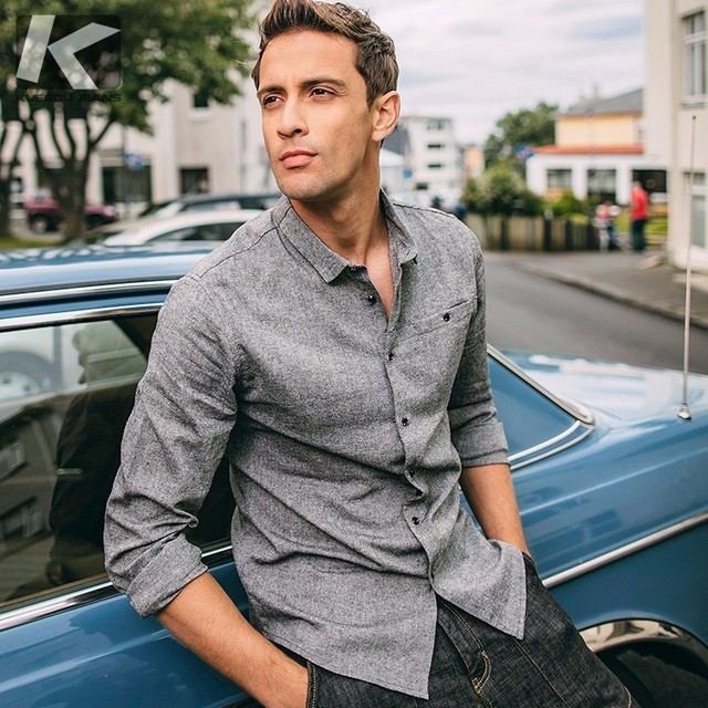 Autumn Men Retro Shirt Cotton Solid Gray Color Pocket Man Casual Long Sleeve Slim Fit Clothes Male 2018 New Brand Clothing 9709