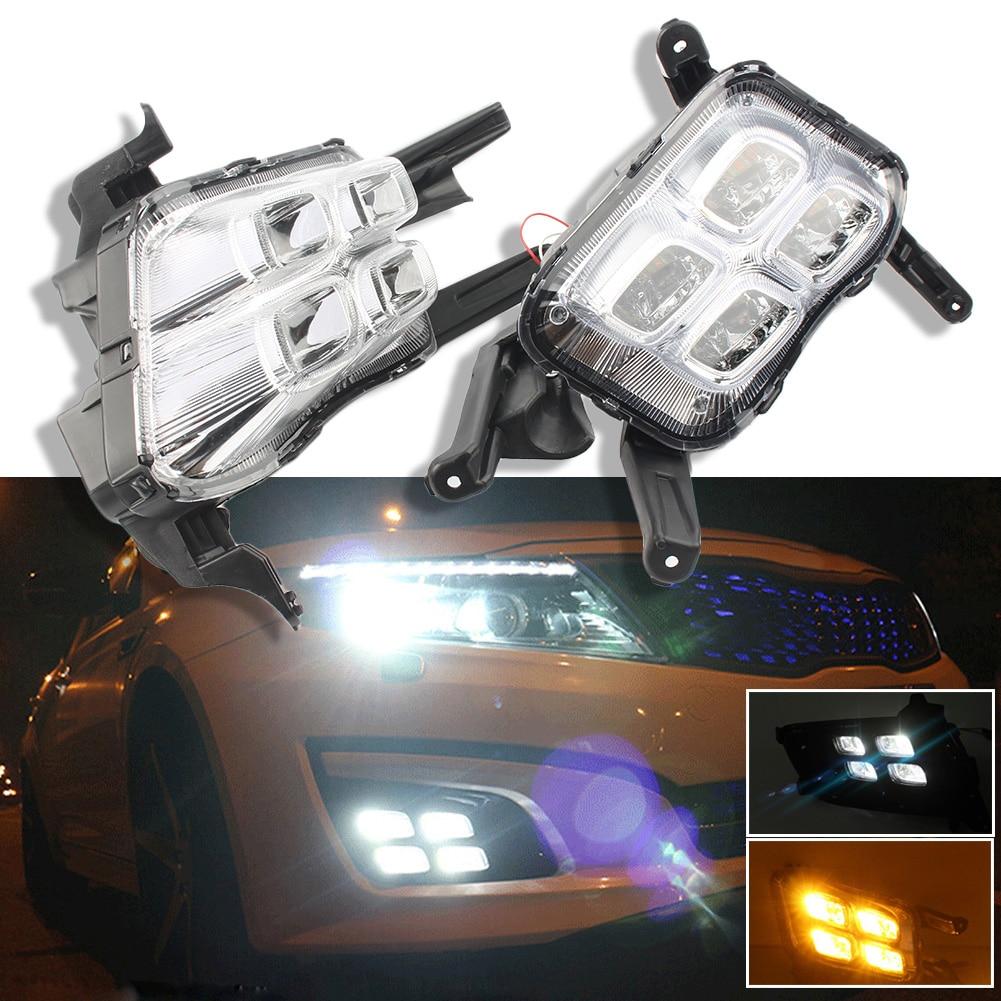 4 LED DRL Daytime Running Light Fog Lamp Turn Signal Light For Kia K5 Optima 2014 2015