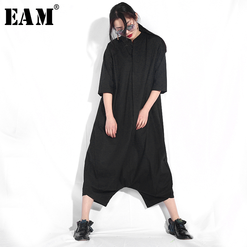 EAM 2019 Spring Stnad Collar Pocket New Personality Loose Big Size Solid Color Half Sleeve