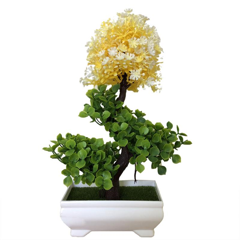 IG/_ Artificial Simulation Bonsai Flowers Tree Pot Fake Potted Plant Home Table D