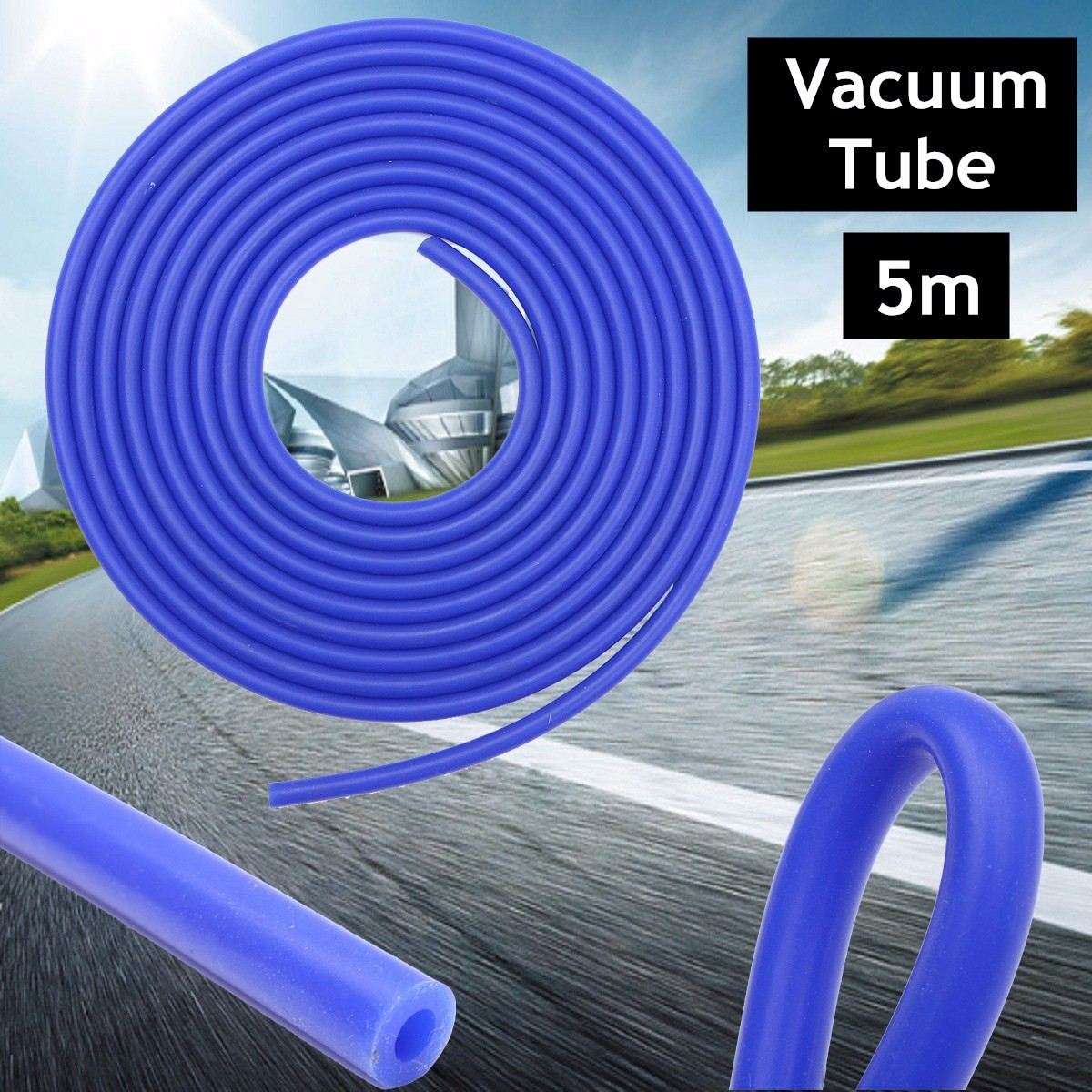 Auto Car Vacuum Silicone Hose Racing Line Pipe Tube Car-styling Blue 5M 4mm Silicone Vacuum Tube Hose Silicone Tubing 16.4ft image