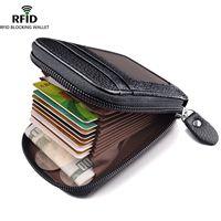 Mannen Portemonnee Echt Leer Credit Card Holder RFID Blocking Ritsvak Dunne