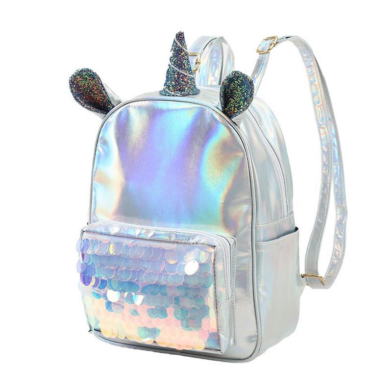 New 2018 Laser Leather Mini Backpack For Women Sequins Unicorn Mochila Girls Travel Back Bags Silver Fashion School Bagpack