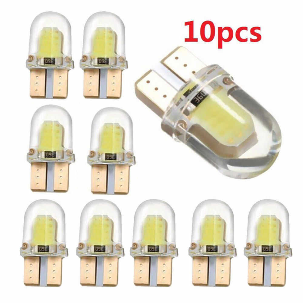 10pcs 4 Chips COB Light LED W5W T10 194 168 W5W 4SMD For Parking Bulb Wedge Clearance Lamp CANBUS Silica gel Car License Light