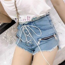 Summer Zipper High Waist Shorts Female Solid Lace Up Korean Denim Shorts Sexy Drawstring Jeans Shorts