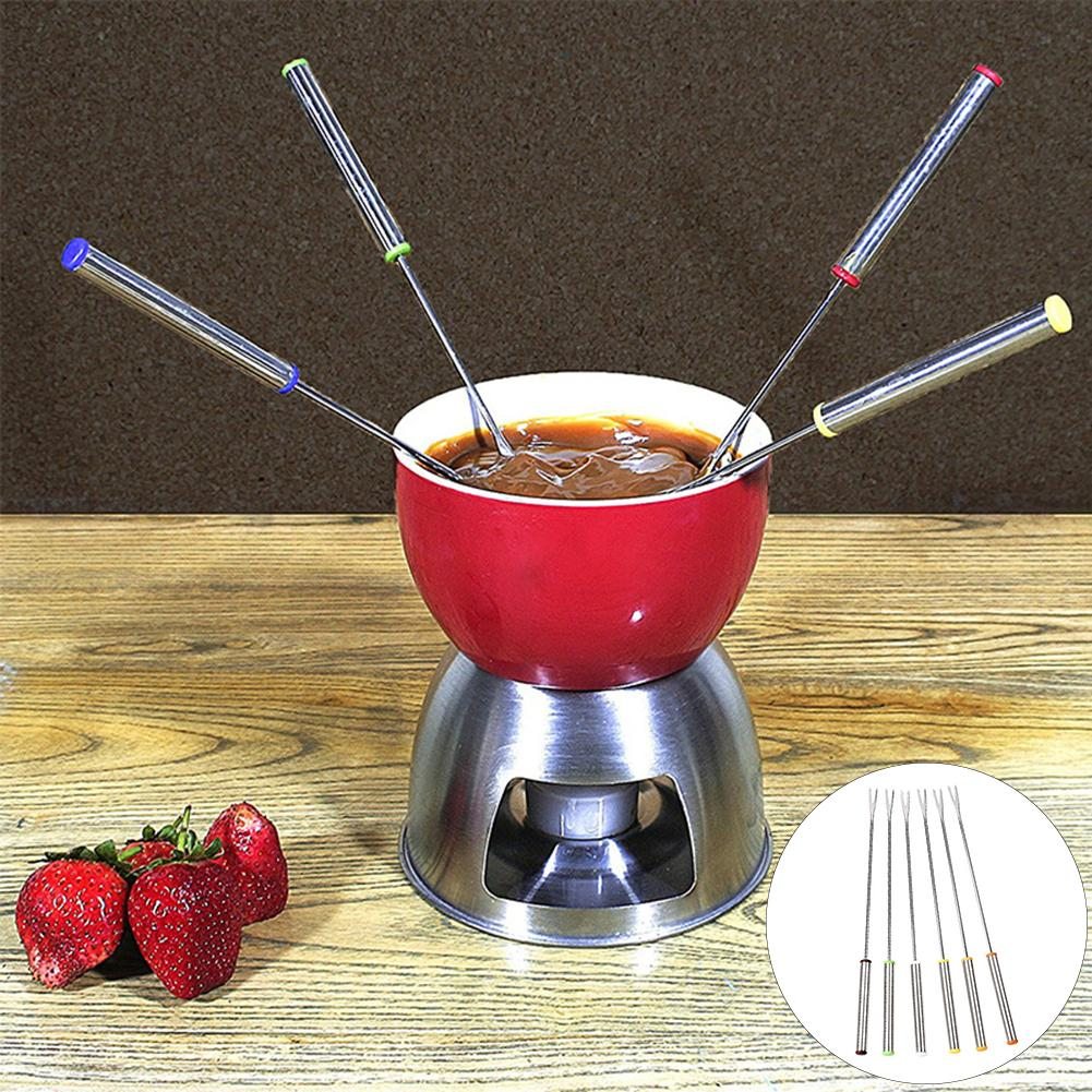 6Pcs 24cm High Quality Stainless Steel Tableware Fondue Forks Cake Fruit Dessert Food Forks Home Kitchen Bar Tools Accessories in Forks from Home Garden