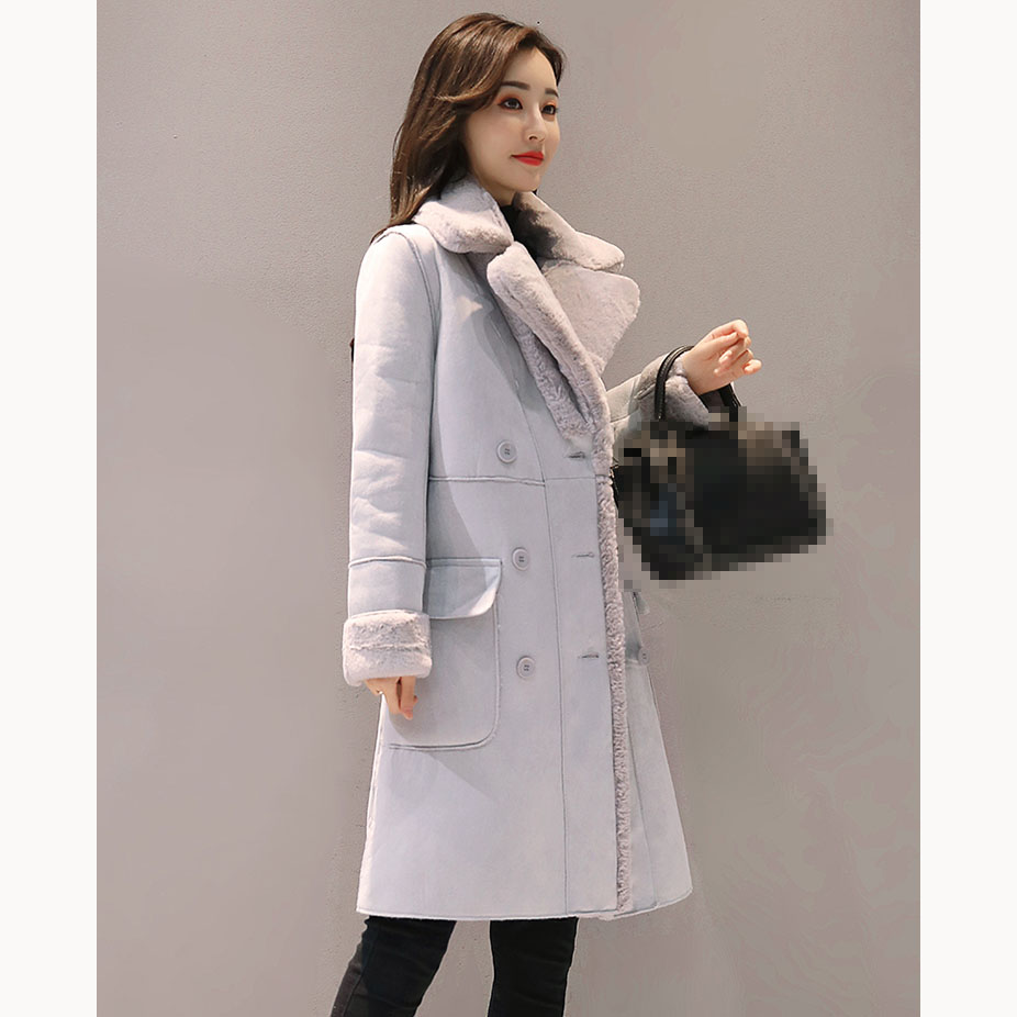 2018 Women Faux   Suede   Coats Turn-Down Collar Thick Long Sleeve Faux   Leather   Jackets Female Autumn Winter Lambs Long Coats