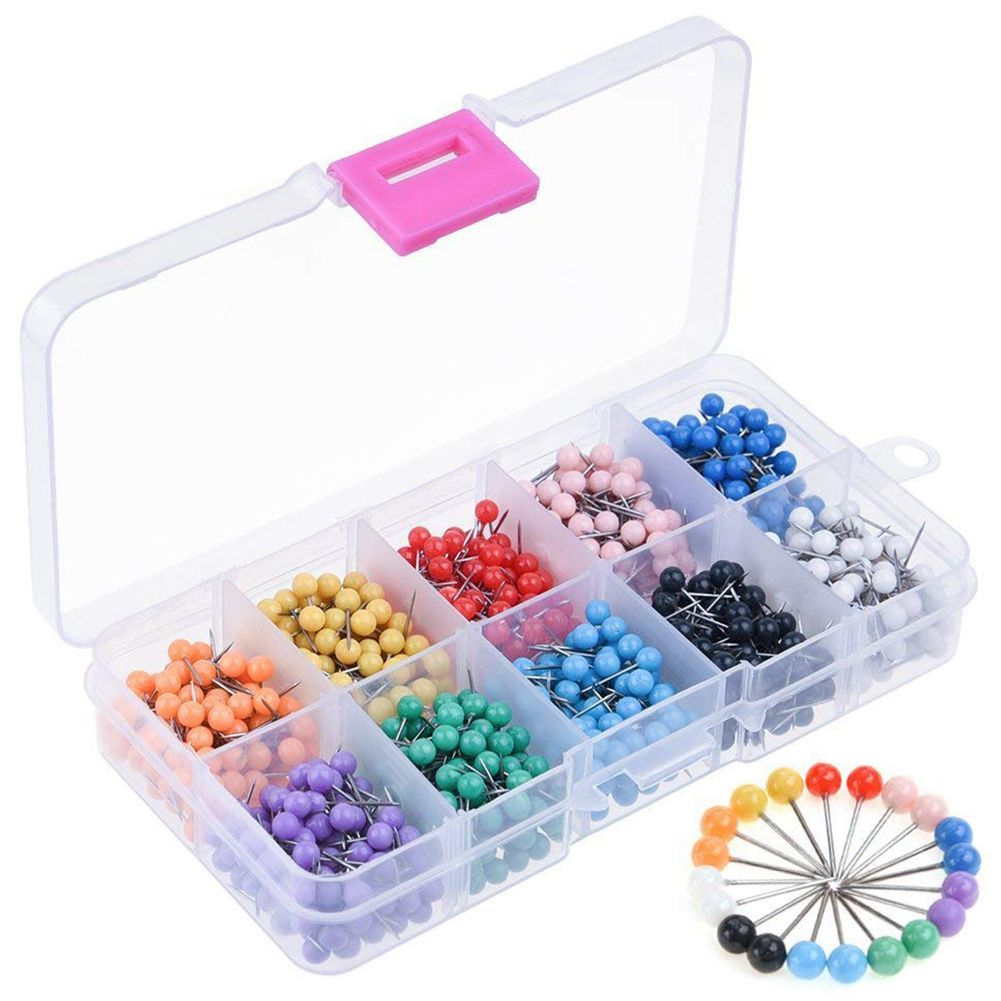 1000 Pieces 1/8 Inch Map Push Pins Map Tacks With Plastic Round Heads And Steel Needle Points 10 Colors (Each Color 100 PCS)