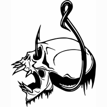 Skull Fish Hook Fishing Bone Boat Car Truck Window Vinyl Decal Sticker Handsome And Cool Stickers 3 sizes outdoor sports go fishing white perch car sticker window fish tank decal vinyl tape h8100