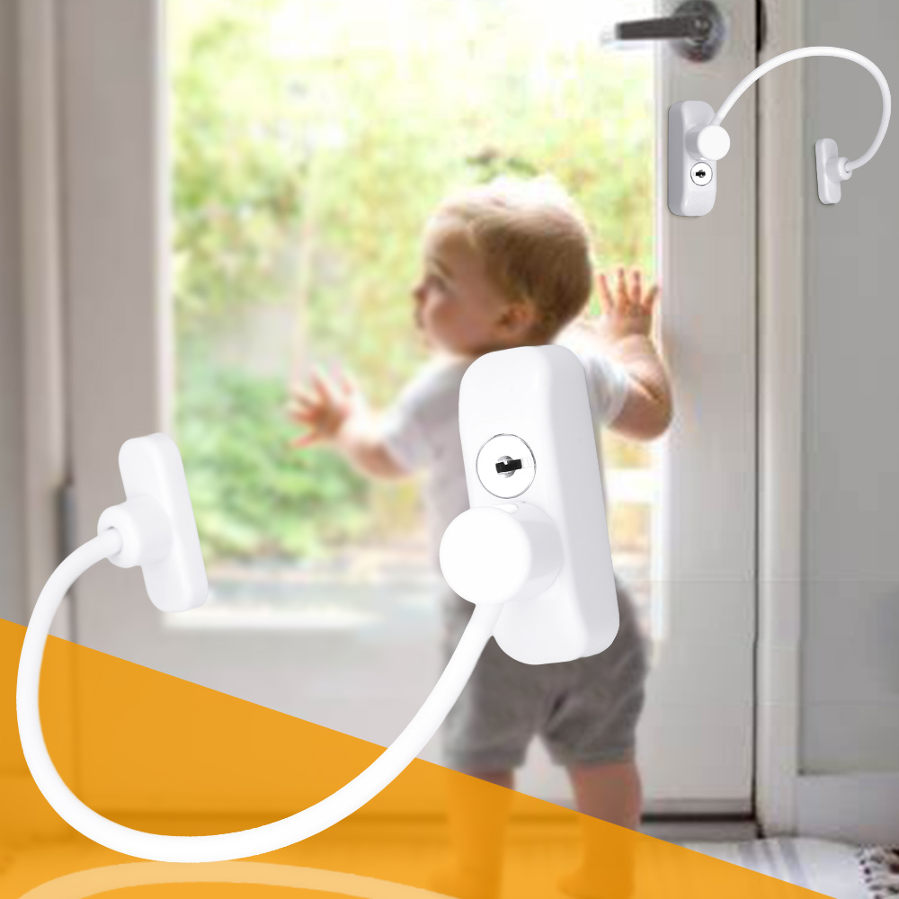 Baby Safety Smart Locks Window Security Anti-Theft Chain Door Restrictor Safety Stainless Lock Car Window Cable Chain Key Lock