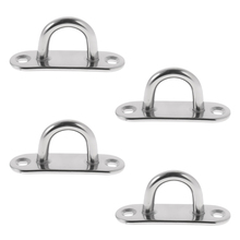 4 Pieces/ Set 5mm 304 Marine Grade Stainless Steel Oblong Pad Eye Plate for Boat