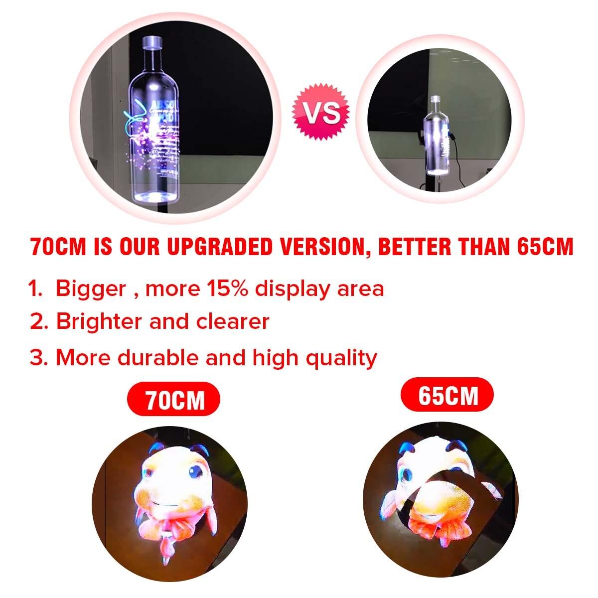 Mis à niveau 70 cm Wifi 3D holographique projecteur ventilateur hologramme lecteur écran vidéo LED ventilateur publicité lumière APP contrôle Four Axil - 2