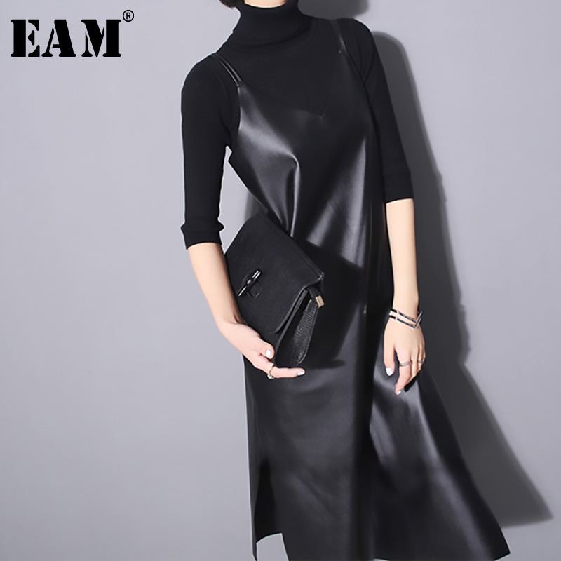 [EAM] 2019 New Spring Summer Strapless Sleeveless Black Pu Leather Loose Brief Dress Women Fashion Tide All-match JO287