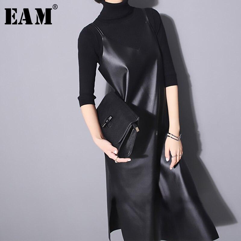 €15.64 30% СКИДКА|Платье EAM JO287 женское без рукавов из искусственной кожи|Платья| |  - AliExpress